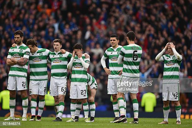 Celtic players react at the penalty shoot out during the William Hill Scottish Cup semi final between Rangers and Celtic at Hampden Park on April 17,...