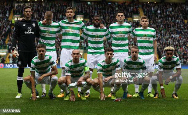 Celtic pose for a team photograph during the UEFA Champions League Qualifying PlayOffs Round First Leg match between Celtic FC and FK Astana at...