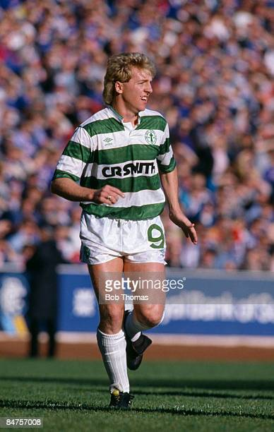 Celtic striker Frank McAvennie during a match against Rangers in the Scottish Premier Division October 17th 1987