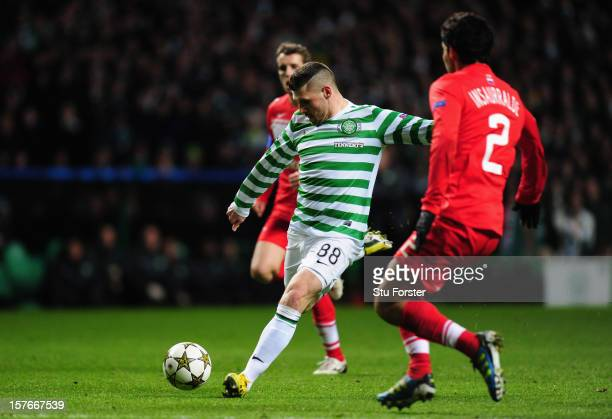 Celtic striker Gary Hooper scores the first goal during the UEFA Champions League Group G match between Celtic FC and FC Spartak Moscow at Celtic...