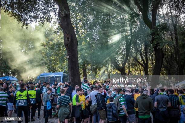 Celtic supporters shout slogans as they gather near Piazza del Popolo ahead of the Europa League match between SS Lazio against Celtic FC on November...