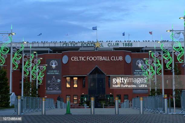 Celtic team coloured Christmas lights at Celtic Park ahead of the UEFA Europa League Group B match between Celtic and RB Salzburg at Celtic Park on...