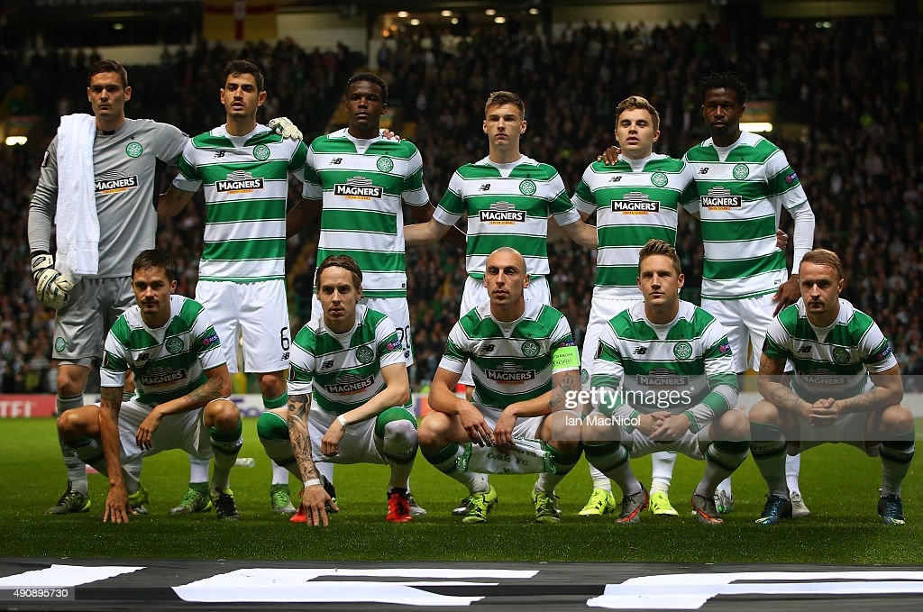 Celtic team pose for a team photo during the UEFA Europa League match between Celtic FC and Fenerbahce SK at Celtic Park on October 01, 2015 in Glasgow, Scotland.