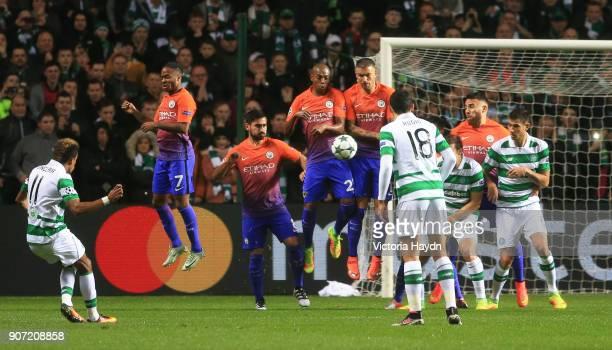 Celtic v Manchester City UEFA Champions League Group C Celtic Park Celtic's Scott Sinclair has a free kick attempt on goal