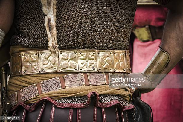 Celtic warrior, detail of his belt and armour. Celtic civilisation. Historical reenactment.