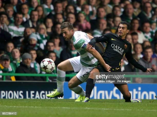 Celtic's Adam Matthews challenges Barcelona's Sergio Busquets