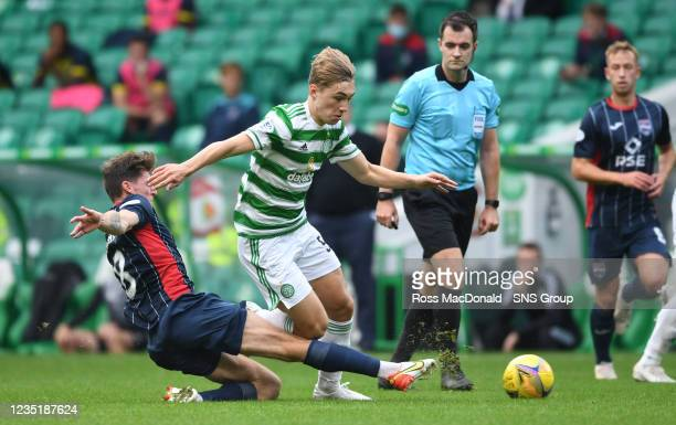 Celtic's Adam Montgomery and Ross Callachan in action during a cinch Premiership match between Celtic and Ross County at Celtic Park on September 11...