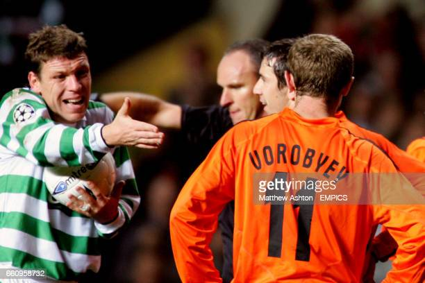 Celtic's Alan Thompson argues with Shakhtar Donetsk players