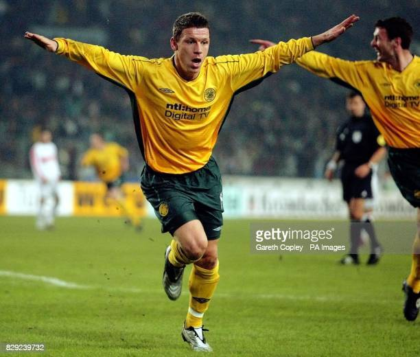 Celtic's Alan Thompson celebrates his opening goal against Vtb Stuttgart during their UEFA Cup 4th Round 2nd leg match at Stadion Aktuell Stuttgart