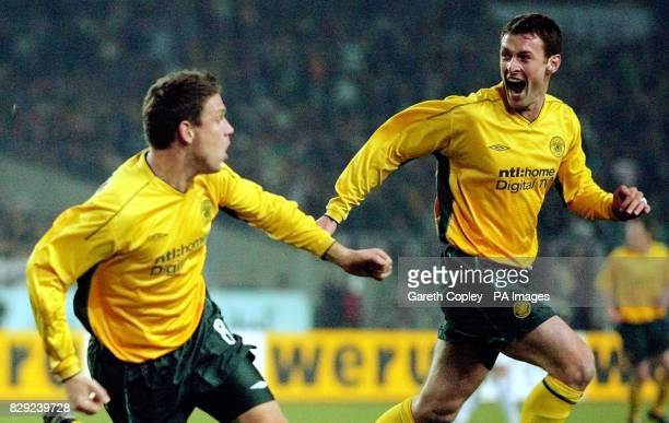 Celtic's Alan Thompson celebrates his opening goal with Chris Sutton against Vtb Stuttgart during their UEFA Cup 4th Round 2nd leg match at Stadion...
