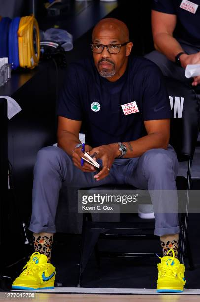 Celtics assistant coach Scott Morrison during the first quarter against the Miami Heat in Game Six of the Eastern Conference Finals during the 2020...