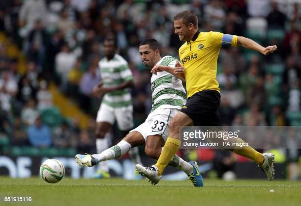 Celtic's Beram Kayal and IF Elfsborg's Anders Svensson fight for the ball during the Champions League Qualifying match at Celtic Park Glasgow