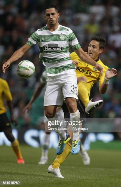 Celtic's Beram Kayal and IF Elfsborg's Stefan Ishizaki during the Champions League Qualifying match at Celtic Park Glasgow