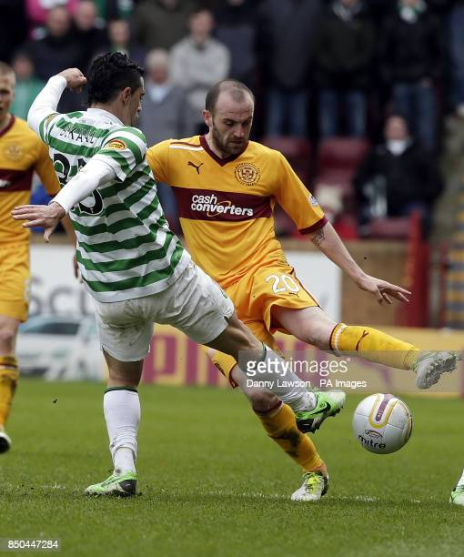 Celtic's Beram Kayal and Motherwell's James McFadden fight for the ball during the Clydesdale Bank Scottish Premier League match at Fir Park...
