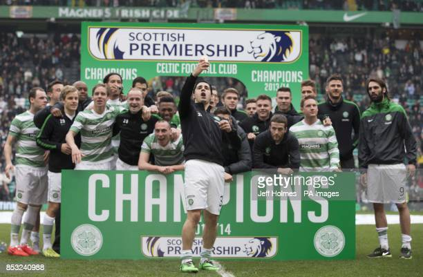 Celtic's Beram Kayal takes selfie as his side celebrates being crowned Champions of Scotland during the Scottish Premiership match at Celtic Park...