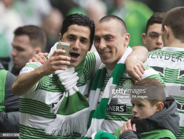 Celtic's Beram Kayal with Scott Brown during the Scottish Premiership match at Celtic Park Glasgow