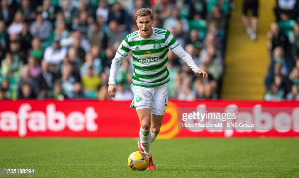 Celtic's Carl Starfelt in action during a cinch Premiership match between Celtic and Ross County at Celtic Park on September 11 in Glasgow, Scotland
