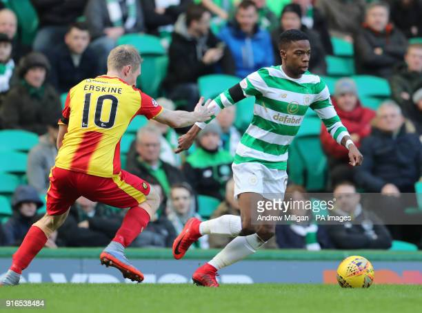Celtic's Charlie Musonda and Partick Thistle's Chris Erskine during the William Hill Scottish Cup fifth round match at Celtic Park Glasgow