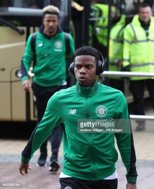 Celtic's Charly Musonda arrives for the Scottish Premiership match at Celtic Park Glasgow