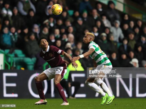 Celtic's Charly Musonda challenges Hearts' Demetri Mitchell during the Scottish Premiership match at Celtic Park Glasgow