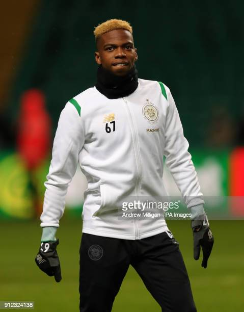 Celtic's Charly Musonda warms up prior to the Scottish Premiership match at Celtic Park Glasgow