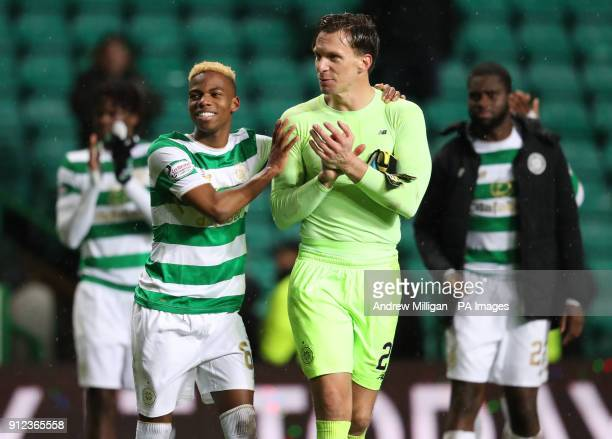 Celtics Charly Musonda with goalkeeper Dorus De Vries after the Scottish Premiership match at Celtic Park Glasgow