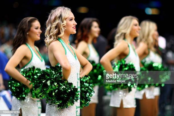 Celtics cheerleaders look on before the preseason game against the Cleveland Cavaliers at TD Garden on October 2 2018 in Boston Massachusetts
