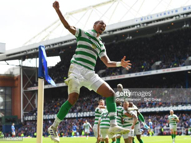Celtic's Christopher Jullien celebrates after Jonny Hayes' goal during the Ladbrokes Premier match between Rangers and Celtic at Ibrox Stadium, on...