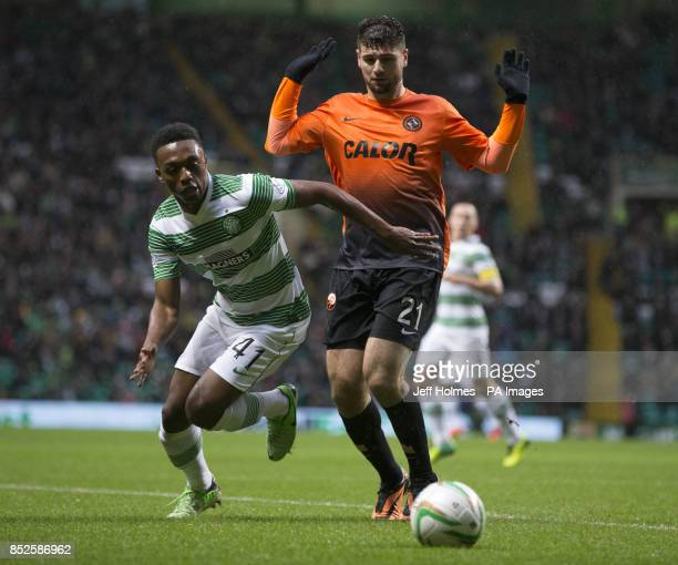Celtics Darnell Fisher and Dundee United's Nadir Ciftci in action during the Scottish Premiership match at Celtic Park Glasgow