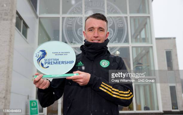 Celtic's David Turnbull is presented with December Scottish Premiership player of the month award at Lennoxtown on January 09 in Glasgow, Scotland.