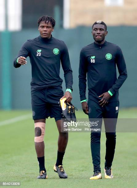 Celtic's Dedryck Boyata and Eboue Kouassi during the training session at Lennoxtown Glasgow