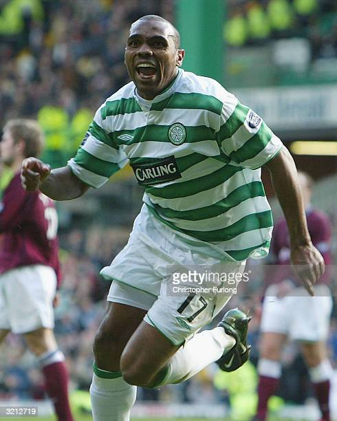 Celtic's Didier Agathe celebrates scoring the equaliser in injury time during the Scottish Premier League match between Celtic and Hearts at Celtic...