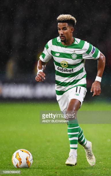 Celtic's English midfielder Scott Sinclair runs during a UEFA Europa league group stage football match between Celtic and Liepzig at Celtic Park...