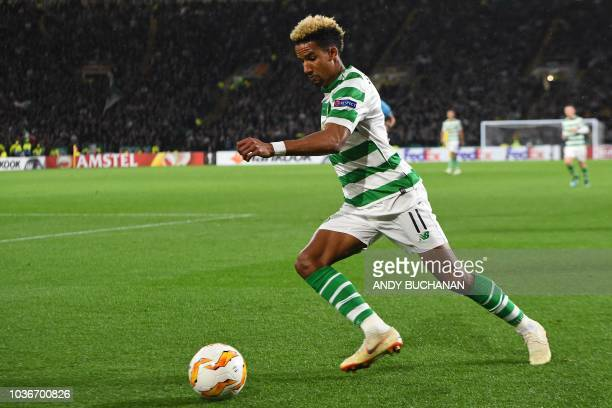 Celtic's English midfielder Scott Sinclair runs with the ball during the UEFA Europa League group B football match between Celtic and Rosenborg at...