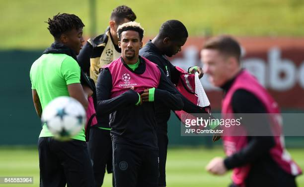 Celtic's English midfielder Scott Sinclair takes part in a training session at their Lennoxtown facility north of Glasgow on September 11 2017 on the...