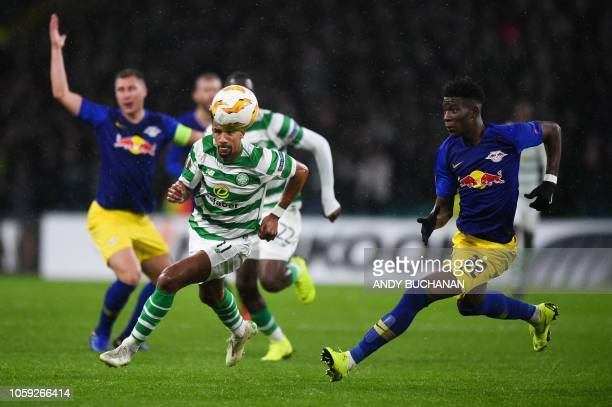Celtic's English midfielder Scott Sinclair vies with Leipzig's French defender Nordi Mukiele during a UEFA Europa league group stage football match...