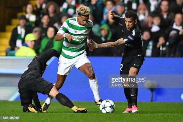Celtic's English midfielder Scott Sinclair vies with Paris SaintGermain's Italian midfielder Marco Verratti and Paris SaintGermain's Brazilian...