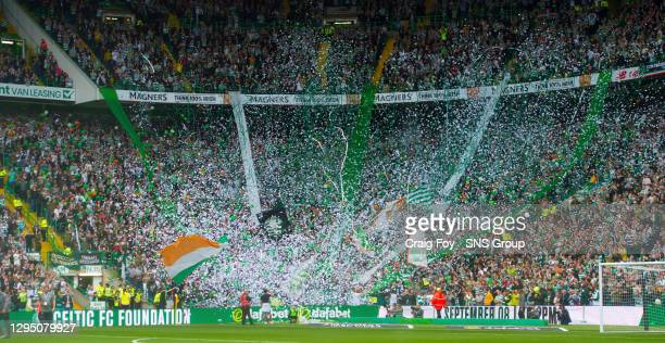 Celtic's fans let off confetti at full time