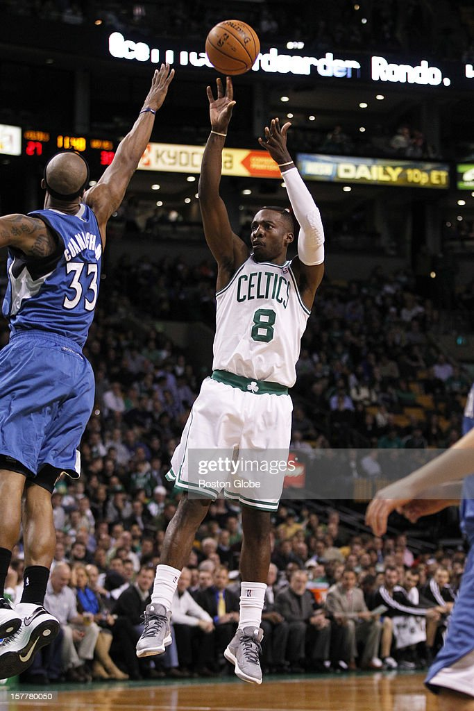 Celtics forward Jeff Green (#8) hits a fadeaway jumper in the second quarter over Timberwolves forward Dante Cunningham (#33) as the Boston Celtics play the Minnesota Timberwolves during a regular season NBA game at the TD Garden in Boston, Mass. on Wednesday, Dec. 5, 2012.