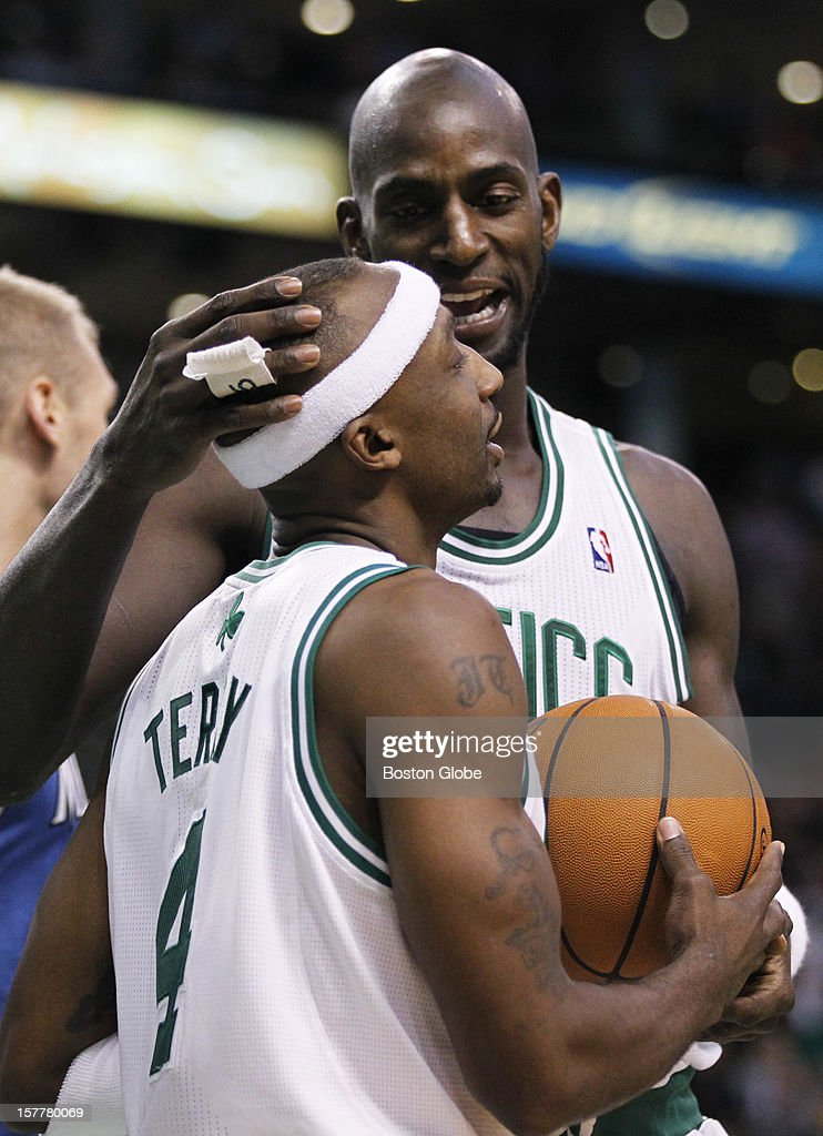 Celtics forward Kevin Garnett (#5) talks to guard Jason Terry (#4) in the fourth quarter after the Timberwolves score a bucket as the Boston Celtics play the Minnesota Timberwolves during a regular season NBA game at the TD Garden in Boston, Mass. on Wednesday, Dec. 5, 2012.