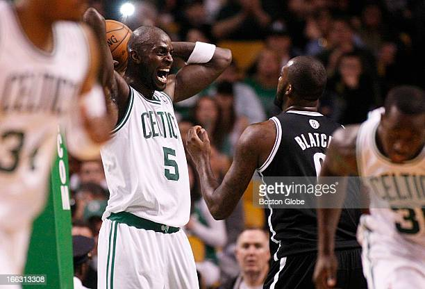 Celtics forward Kevin Garnett yells in the face of Nets forward Andray Blatche in the second quarter after wrestling a rebound away from them Things...