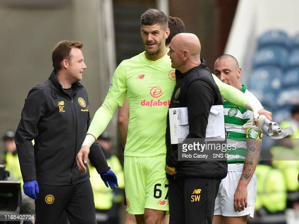 Celtic's Fraser Forster celebrates at full time during the Ladbrokes Premier match between Rangers and Celtic at Ibrox Stadium, on September 1 in...