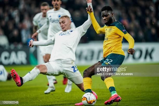 Celtic's French forward Odsonne Edouard and FC Copenhagen's Danish defender Victor Nelsson vie during the Europa League last 32 first leg football...
