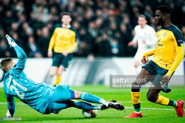 Celtic's French forward Odsonne Edouard fails to score during the Europa League last 32 first leg football match between FC Copenhagen and Celtic in...