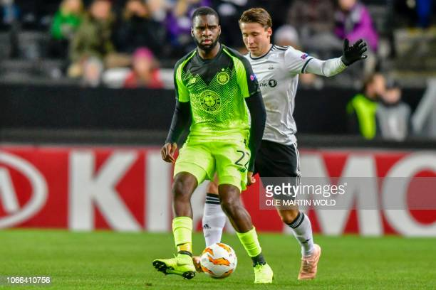 Celtic's French forward Odsonne Edouard vies with Rosenborg's Norwegian midfielder Anders Trondsen during the UEFA Europa League group B football...