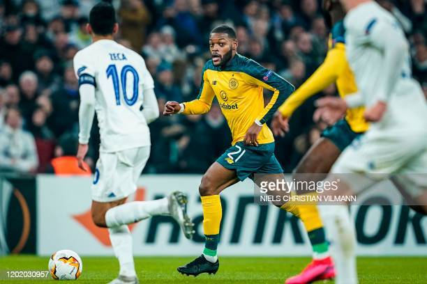 Celtic's French midfielder Olivier Ntcham plays the ball during the Europa League last 32 first leg football match between FC Copenhagen and Celtic...