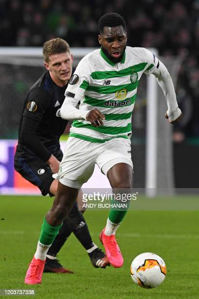Celtic's French striker Odsonne Edouard runs with the ball during the UEFA Europa League round of 32 second leg football match between Celtic and...