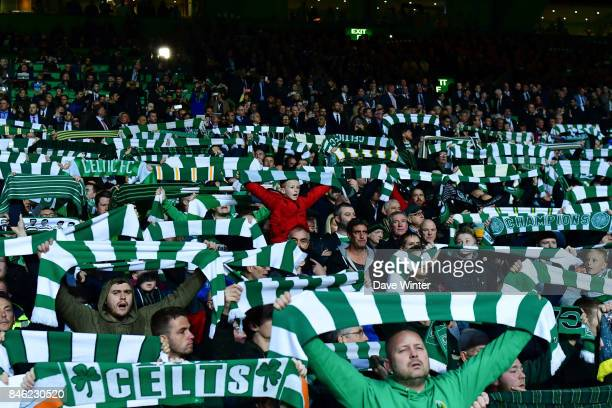 Celtics gans during the Uefa Champions League match between Glasgow Celtic and Paris Saint Germain at Celtic Park Stadium on September 12 2017 in...
