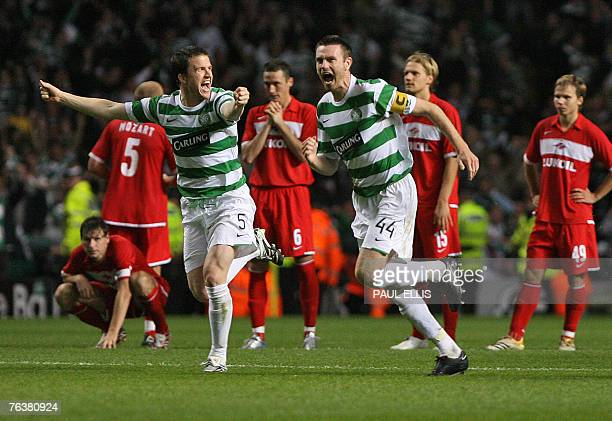 Celtic's Gary Caldwell , Stephen McManus celebrate after goalkeeper Artur Boruc saved the deciding penalty against Spartak Moscow during their UEFA...
