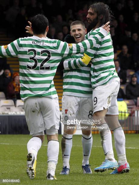 CROP* Celtic's Gary Hooper celebrates his goal with teammates Tony Watt and Georgios Samaras during the Clydesdale Bank Scottish Premier League match...